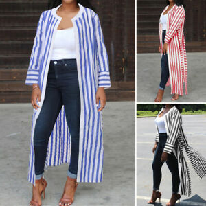 Mode-Femme-Simple-Bande-Manche-Longue-Casual-en-vrac-Loose-Chemis-Cardigans-Plus