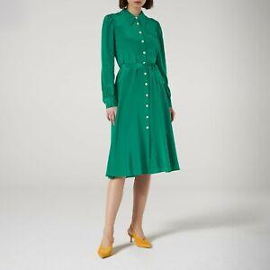New-LK-Bennett-Runa-Verdant-Green-Tie-Waist-Shirt-Dress-Sz-UK-8-10-12-14