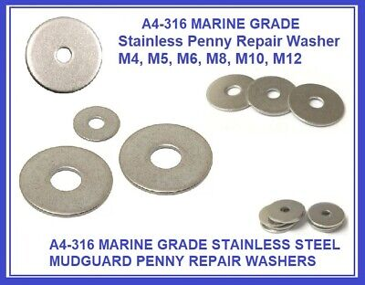 4mm A4 MARINE GRADE STAINLESS STEEL PENNY//REPAIR WASHER M4
