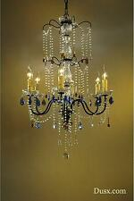 DUSX Vintage Bronze Clear Amber & Blue Crystal Glass Tall 6 Arm Chandelier Light