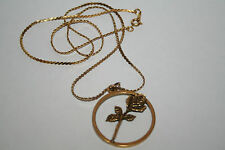 """Delta Kappa Gamma Society~Rose in a Circle Pendant Gold Tone Necklace 22""""~ DKG"""