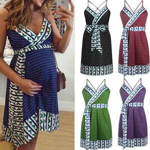 Fashion-Women-039-s-Pregnant-Maternity-Nursing-Striped-V-Neck-Summer-Backless-Dress