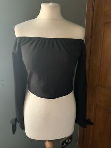 Boohoo Black Crop Bardot Neckline Top Size 12