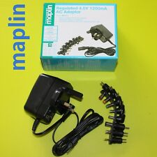 Certified Maplin DC 3V 1200mA Power Supply AC//DC Adapter 8 Connectors RRP £14.99