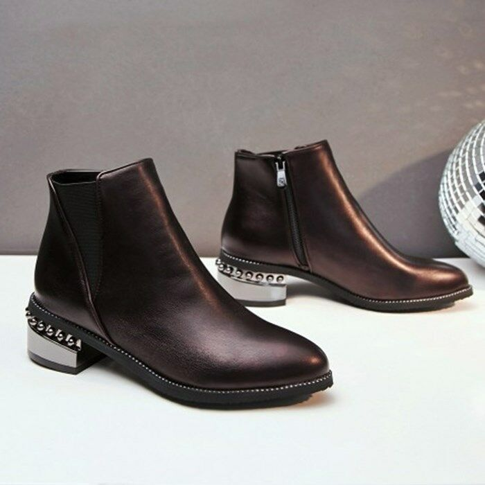 Chelsea Boots Pointy Toe Block Heels Ankle Boots Autumn Ladies Shoes Punk Size