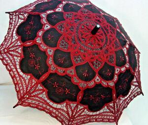 Cotton Lace Parasol Black Red Battenburg Lace Victorian Edwardian