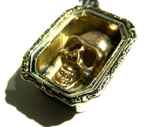 Cuivre Tête de Mort en Boite Collier Cercueil Gothique Vampire Pirate Curiosity