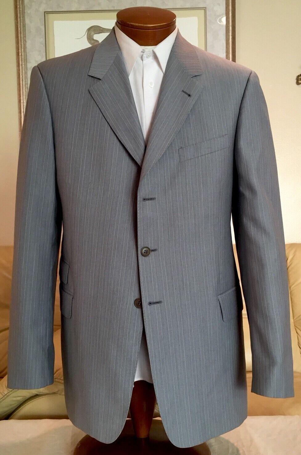 Paul Smith  Herren grau Stripe 3 Btn 2 Vent Wool Blazer Sz 42/44 L MINT