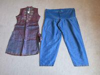 Women's Ethnic/indian Kameez Kurta Dress & Pants Bluepinkgold Beadsequins