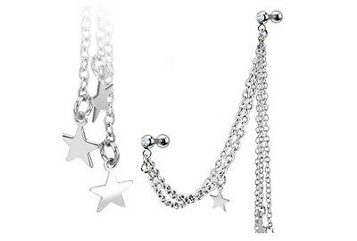 Double Chained STARS Dangle TRAGUS CARTILAGE Ring Studs Ear Piercing Jewelry