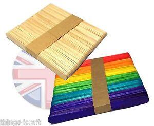 Naturale-o-COLORE-LEGNO-LOLLIPOP-Bastone-LOLLYPOP-BASTONCINI-LOLLY-STICK-UK-Venditore