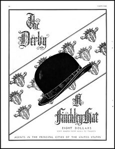 1931 Finchley Hat The Derby men's Christmas gift vintage art Print Ad  adL27