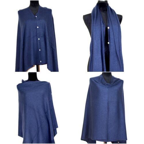 Cashmere Poncho Pashmina Wrap Ladies Shawl Scarf Grey Black Buttoned Multi Ways