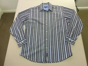 087-MENS-EX-COND-GAZMAN-WASHED-OUT-DK-CHOC-BLUE-STRIPE-L-S-SHIRT-MEDM-80-RRP