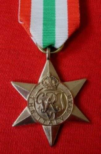 MEDALS BRITISH WWII FULL SIZE. ITALY STAR MEDAL