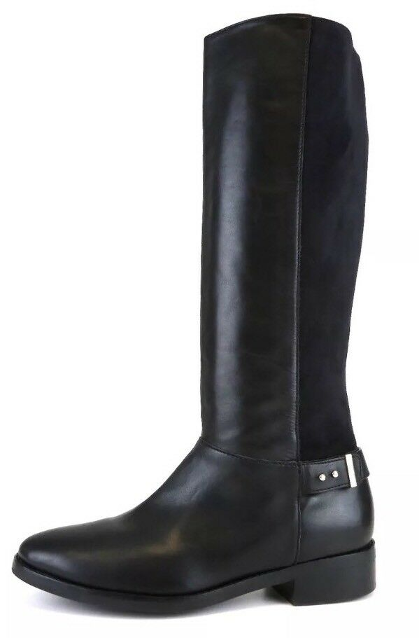Cole Haan Adler Leather Suede Riding Boots Black Women Sz 8 B 6775 *