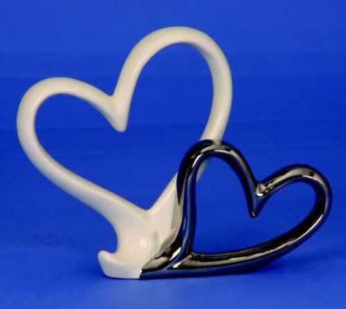 Skulptur Herzen Paar weiß// chrom