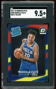 2017-18-Donruss-Optic-Red-Yellow-Prizm-200-Markelle-Fultz-RC-SGC-9-5-PSA-10