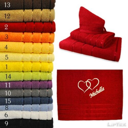 Towel SET 3tlg embroidered with hearts and name SHOWER TOWEL WH 470g TOWEL