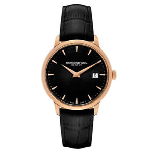 RAYMOND-WEIL-Toccata-Black-Dial-Black-Leather-Men-039-s-Watch-5488PC520001