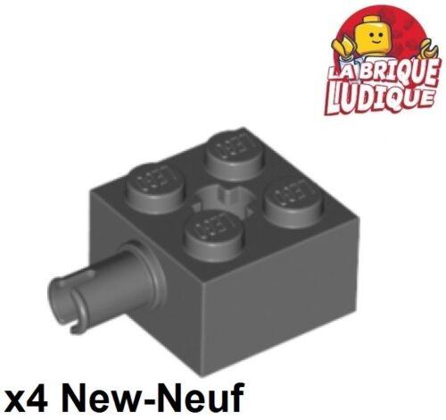 4x Brique Brick Modified 2x2 pin axle axe hole gris f//d b gray 6232 NEUF Lego