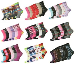 12 Pairs Women/'s Ladies Cotton Blend Plain Everyday Designer Socks UK Size 4-7