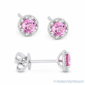 903ddafee87 Details about 0.53 ct Pink Lab Sapphire & Diamond Baby Martini Stud  Earrings in 14k White Gold