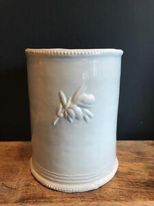 Shabby Chic White Olive Ceramic Rustic Utensil Holder Pot