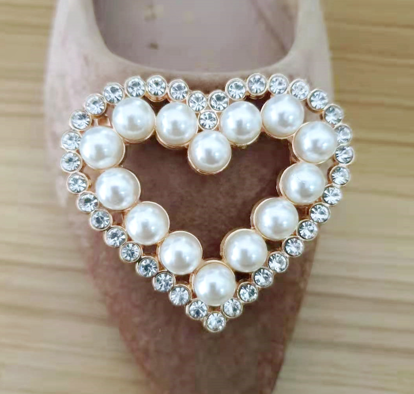 2 Pcs Rhinestone Crystal Heart Diamante Crystal Wedding Shoes Shoe Clips Charms