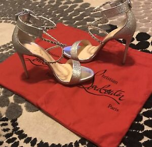 low priced eae32 2d63c Details about Christian Louboutin Choca Lux 120 Silver Criss Cross Strap  Sandal Heel Pump 40