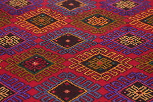 Geometric-Vintage-8-ft-RED-Runner-Mahal-Stair-Rug-Hand-Knotted-Wool-Carpet-4-039-x8-039