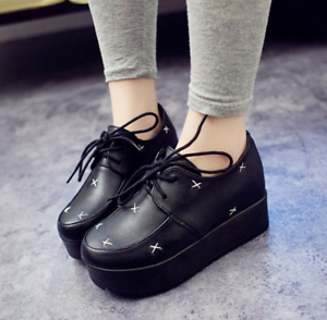 Womens-Wedge-Heel-Platform-Flats-Creepers-Oxfords-Black-Punk-Goth-Lace-Up-Shoes