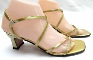 Stuart-Weitzman-women-039-s-size-8-N-Narrow-gold-strappy-sandals-med-heel-shoes