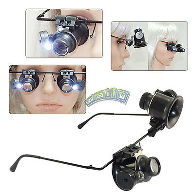 Watch Repair Magnifier Jeweler Magnifying Loupe 20X Glasses Type with LED Light