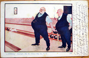 1909-Bernhardt-Wall-Artist-Signed-Postcard-Poodle-on-Bowling-Alley-Cigar-Smoking