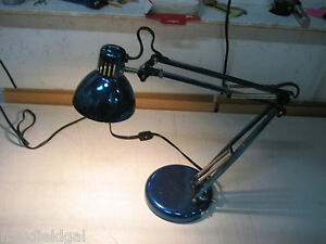 Used Portable Blue Metal Desk Lamp 2 Adjustable Elbows