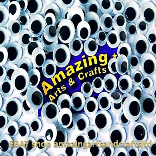 200 Black Self Adhesive Wiggle Wiggly Googly Eyes 10mm 12mm 15mm