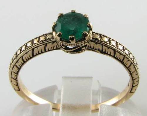 DETAILED 9K 9CT gold EMERALD SOLITAIRE ART DECO INS RING FREE RESIZE