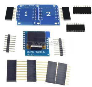 "ESP8266 Dual Base Shield D1 mini 0.66"" inch IIC I2C OLED Shield For Arduino"