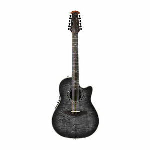Ovation-Exotic-Woods-12-String-Acoustic-Electric-Guitar-Ebony-Burst-With-Bag