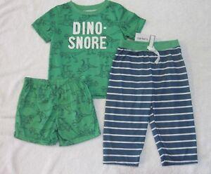 6363c9e30 Carter's Baby Boys 3 Piece Dinosaur Pajamas Set 18 Months Green Blue ...