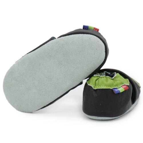 Carozoo CALCIO NERO 6-7y in pelle morbida suola scarpe per bambini