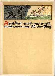 Scheda-di-artisti-arte-cartolina-1940-50-aprile-034-aprile-rende-cio-che-vuole-034-tipo-PC