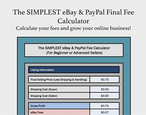 How Much Are Ebay Fees >> Details About The Simplest Ebay Paypal Final Fee Calculator Selling Microsoft Excel Free