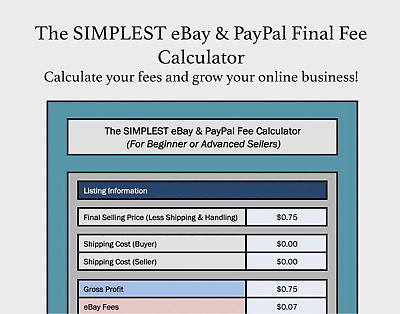 The Simplest Ebay Paypal Final Fee Calculator Selling Microsoft Excel Free Ebay