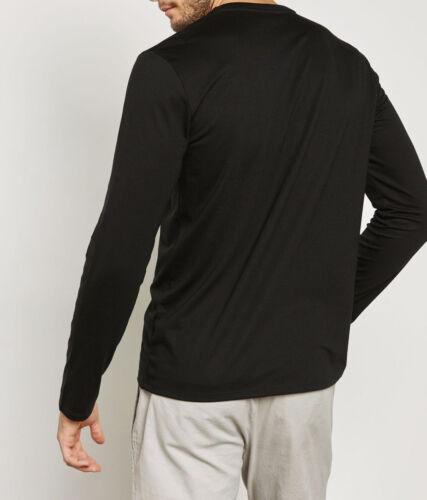 Homme Lacoste T-shirt noir en coton à manches longues col V tee-shirt LACOSTE TH6711 Authentique
