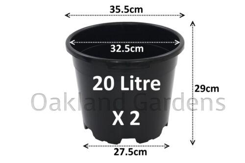 2 x 20 Litre Plant Pots Strong Plastic Black Flower Pot L LT High Quality