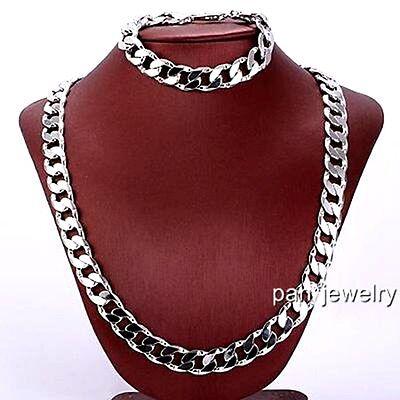 Vogue 24k White Gold Filled Polished Necklace Bracelet Set 96g Curb Chain 10mm