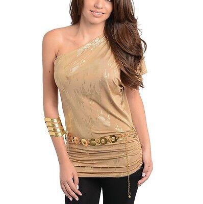Tan One Shoulder Gold Foil Party Club Night Wear Top Blouse Gold Chain Belt Shop