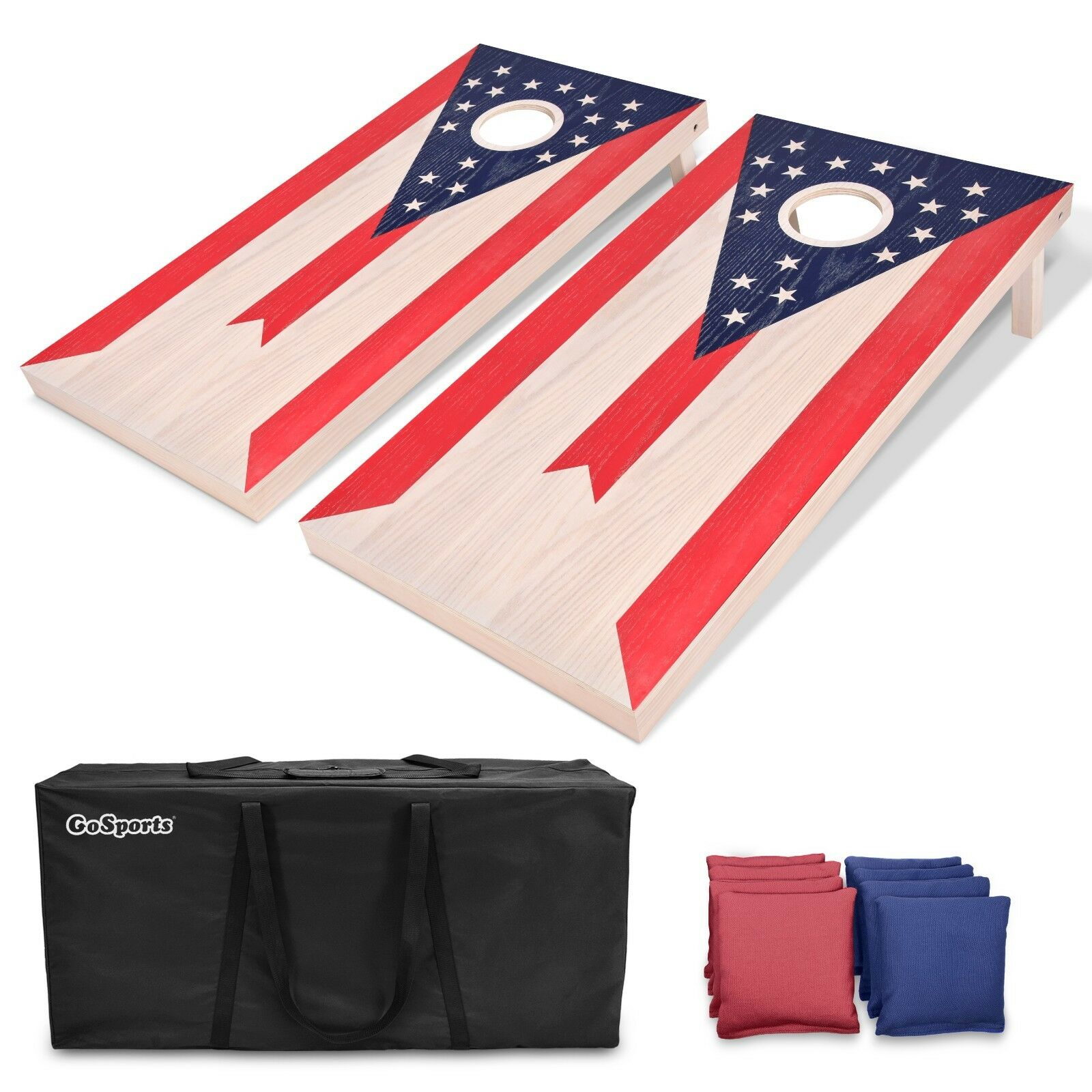 GoSports Ohio Flag Regulation Size 4'x2' Solid Wood Cornhole Bags Toss Game Set